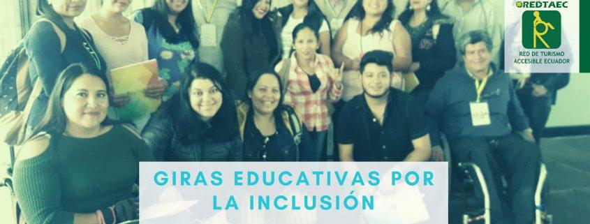 Fotografía de varias personas con discapacidad y estudiantes donde se muestra el título del blog de REDTA-EC®, en la parte inferior la lengua de señas ecuatoriana y un formato braille que hacen a la inclusión social universal.