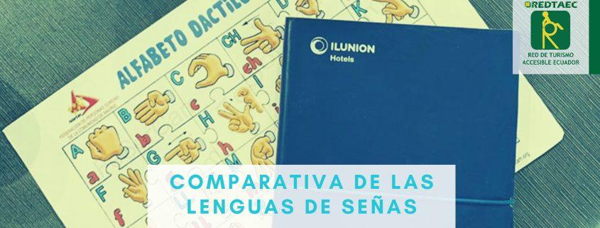 Fotografía de la portada del blog de redta-ec donde se observa un manual de lengua de señas para el personal de establecimientos hoteleros