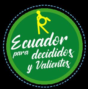 """Es un sello creado por REDTA-EC donde se visualiza en la parte superior la letra """"R"""" con una persona con discapacidad y debajo de esta la frase: Ecuador para decididos y valientes."""